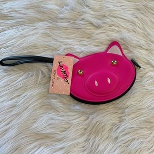 Betsey Johnson luv betsey pink pig wristlet NWT